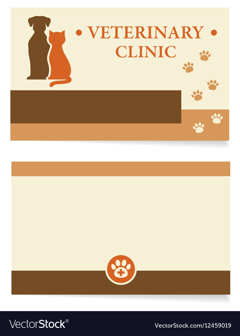 Veterinary clinic business card Royalty Free Vector Image
