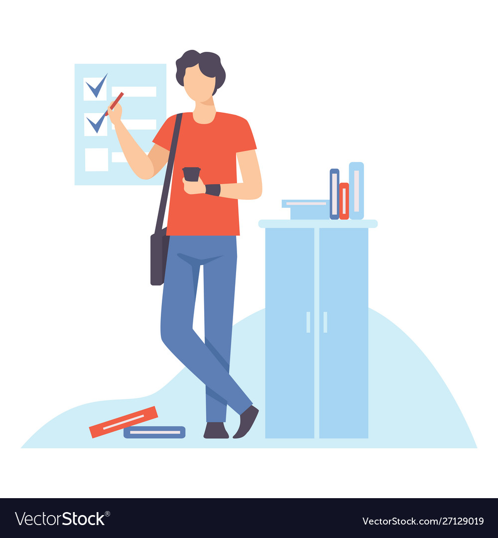 Young man planning and controlling his working