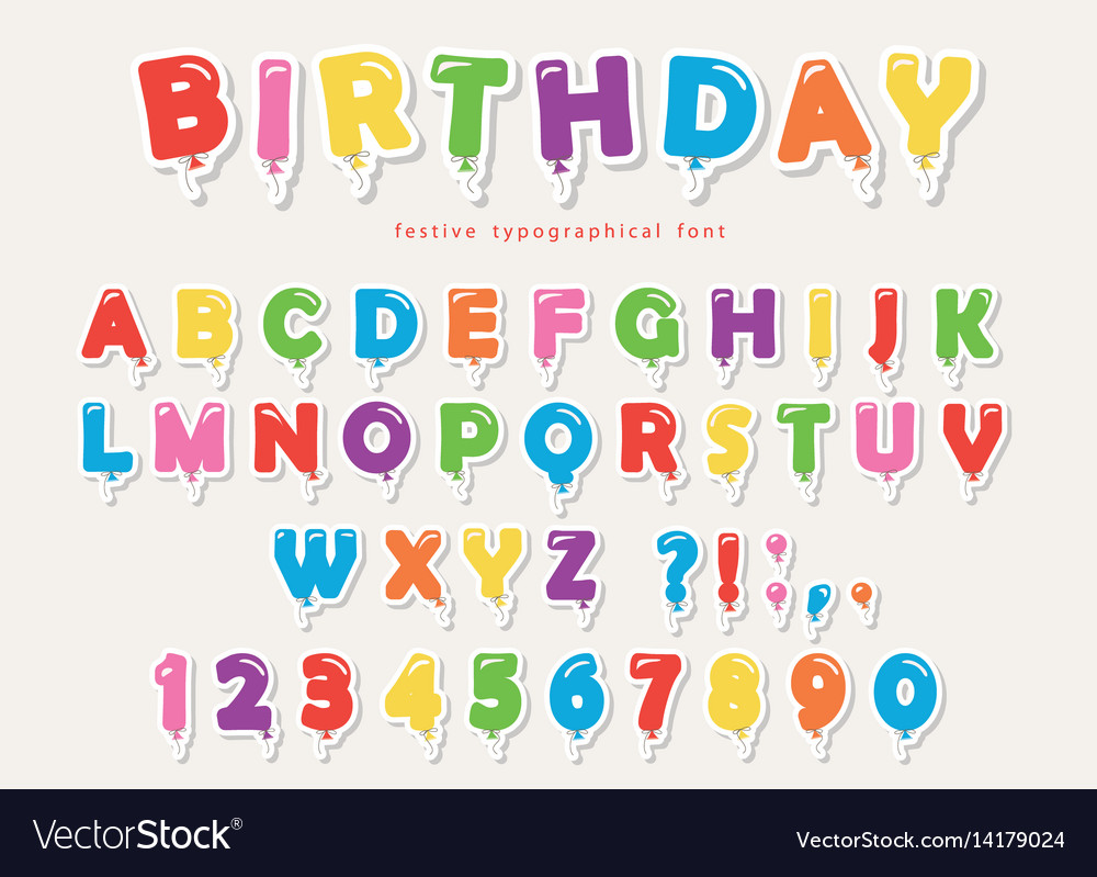 Balloon colorful font paper cutout funny abc