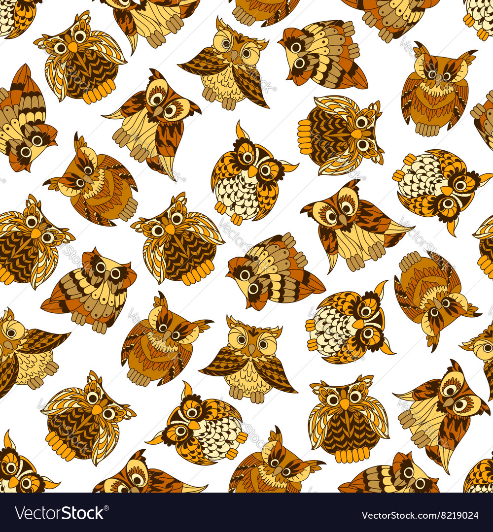 Brown forest owls seamless pattern