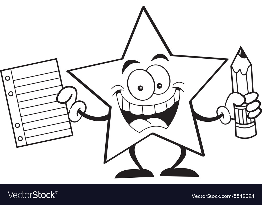 Cartoon star holding a paper and pencil