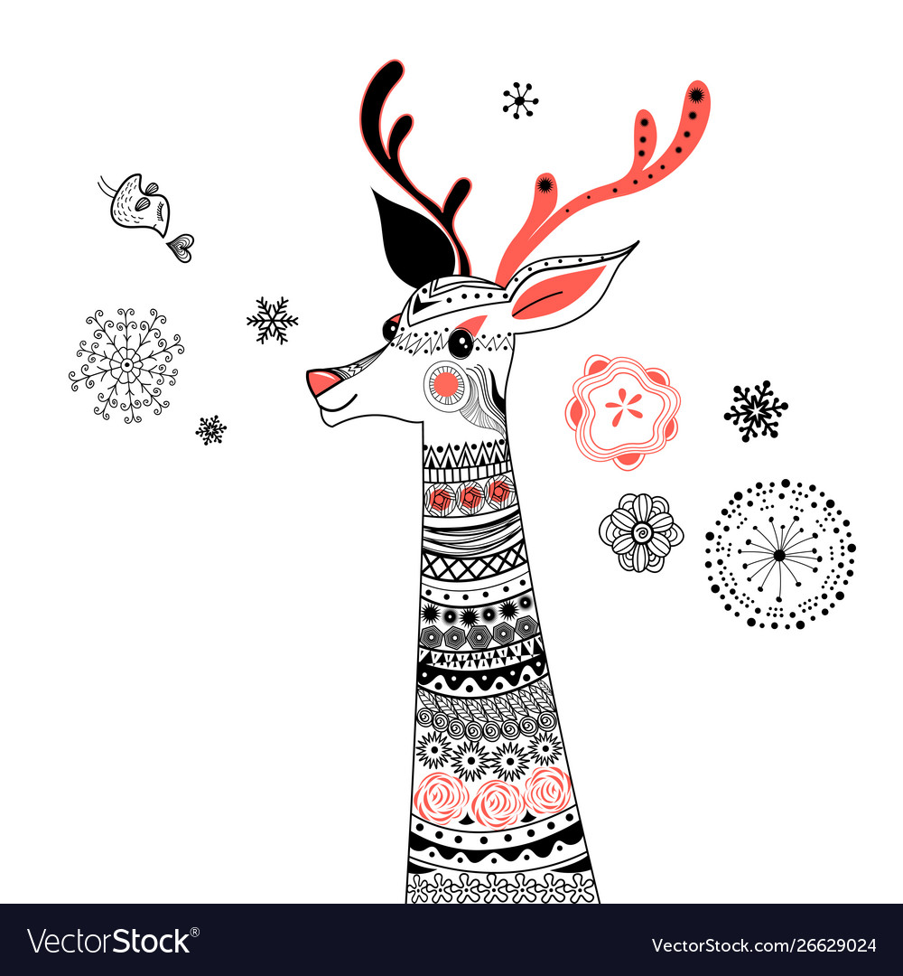 Graphic portrait ornamental deer