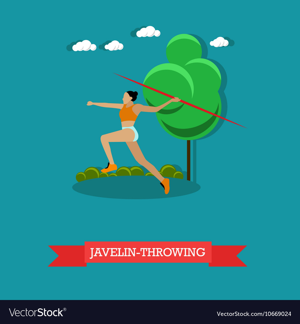 Javelin throwing sportswoman Track and field vector image