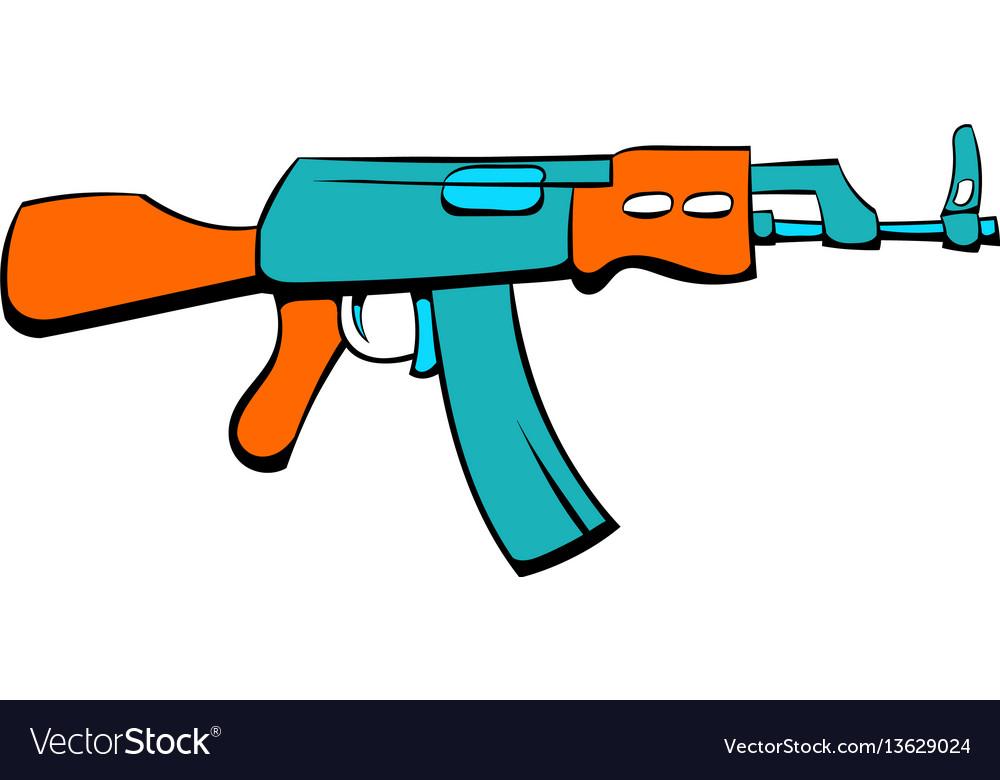 Kalashnikov assault rifle icon cartoon