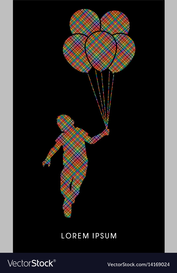 Little boy jumping with balloons vector image