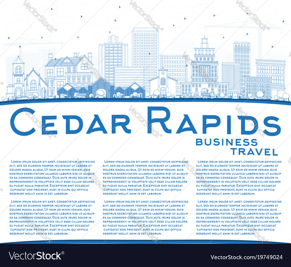 Outline cedar rapids iowa city skyline with blue