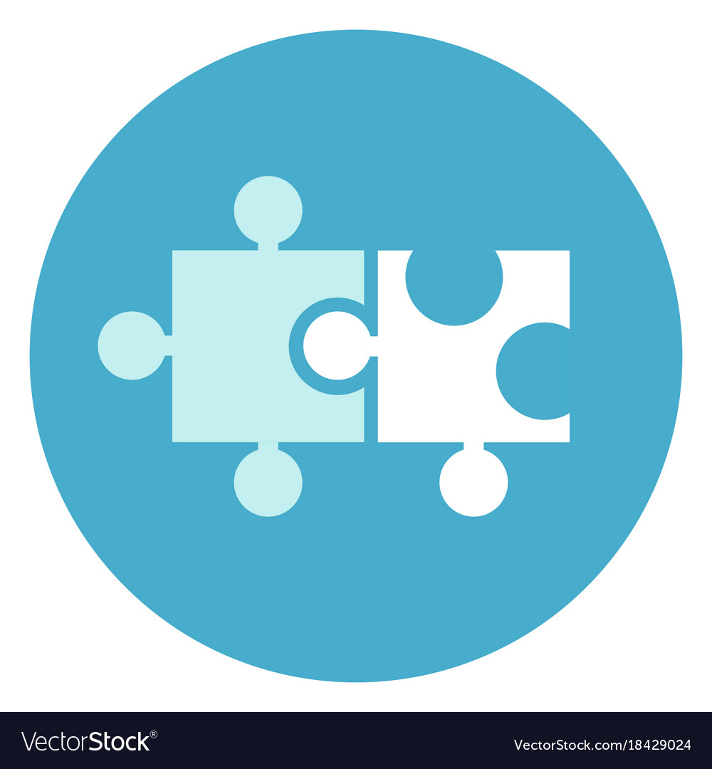 Puzzle pieces icon on round blue background