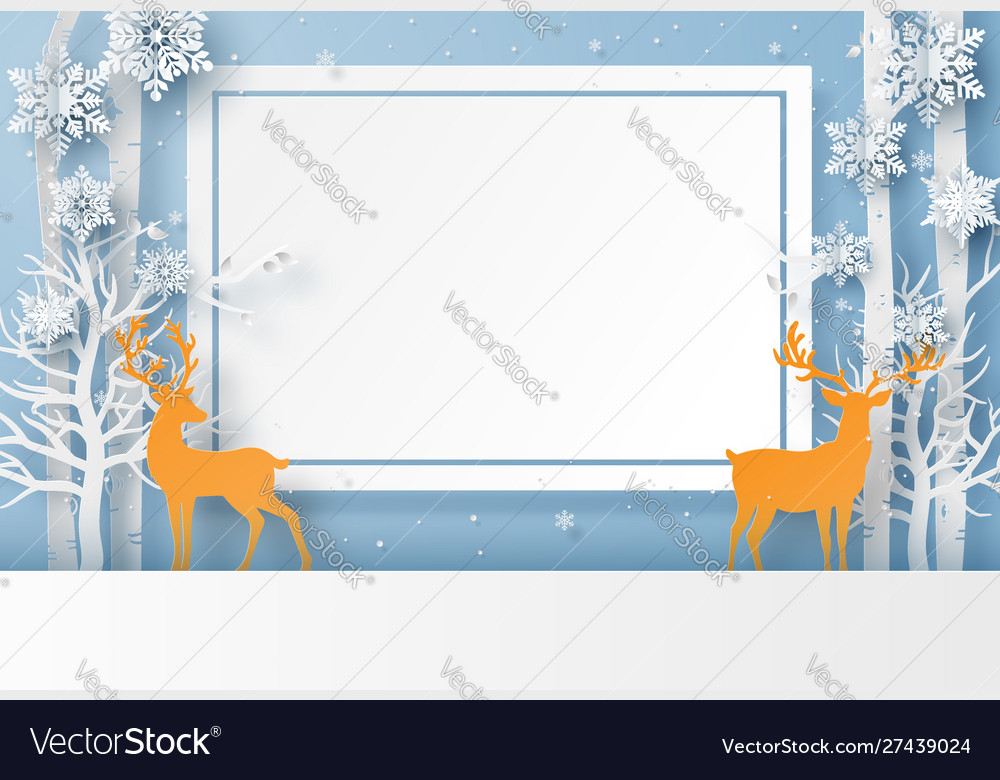 Reindeer in forest with snowflake