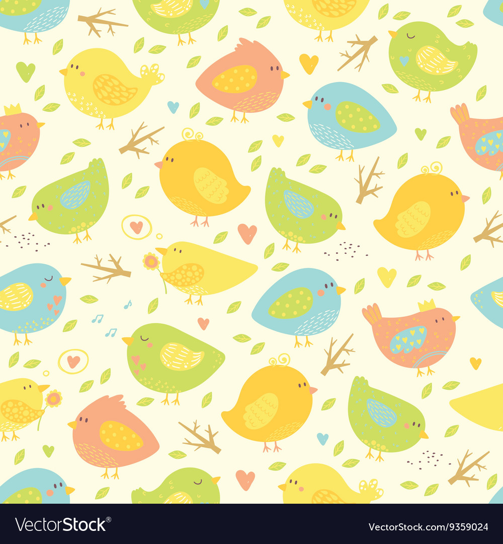 Seamless pattern with cute birds and tree branches