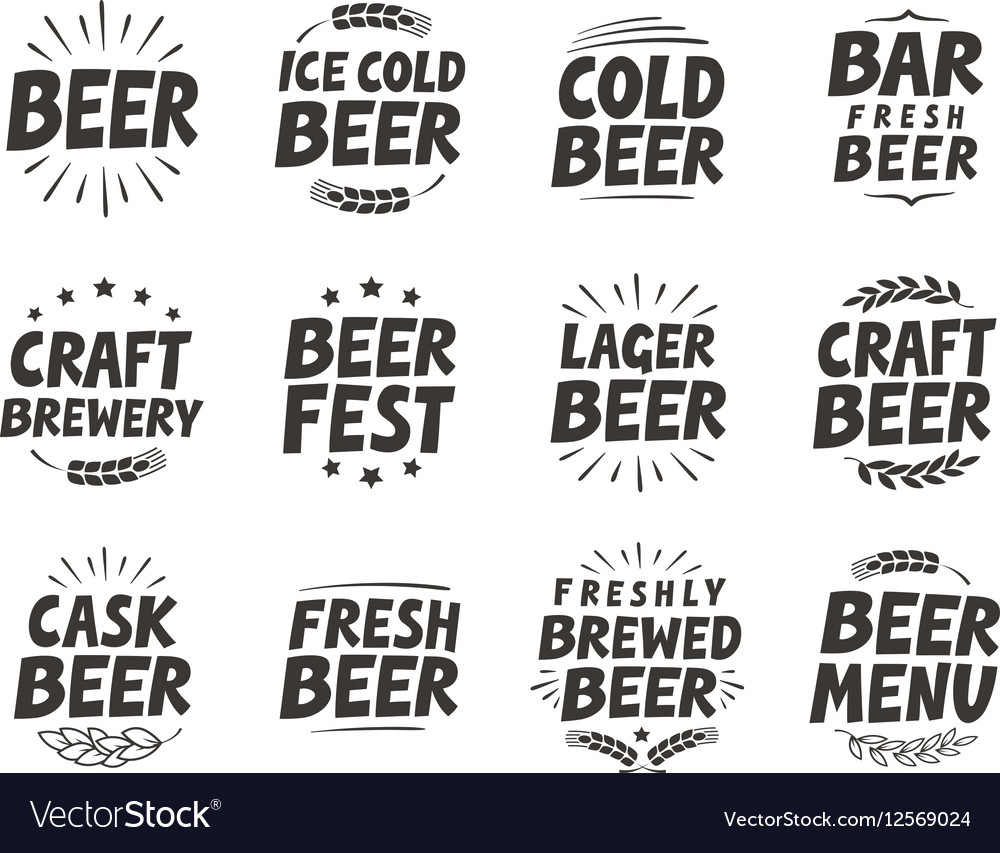 Set labels Craft beer tags and elements