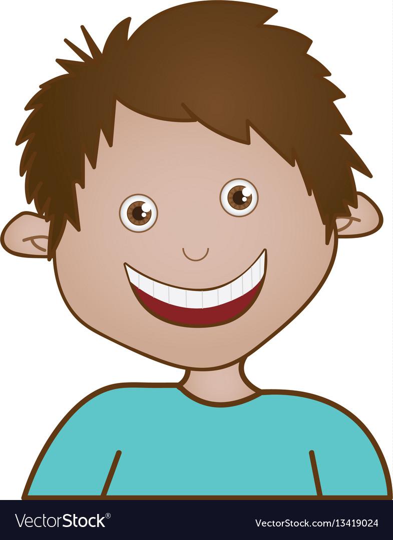 Sticker happy boy icon vector image