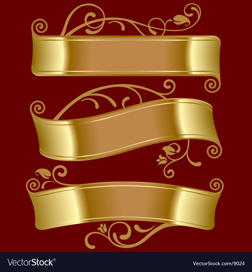 Three gold banners vector image