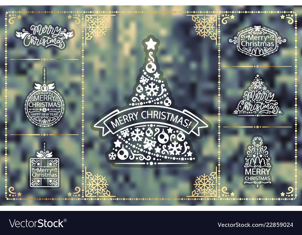 Winter christmas design elements golden set