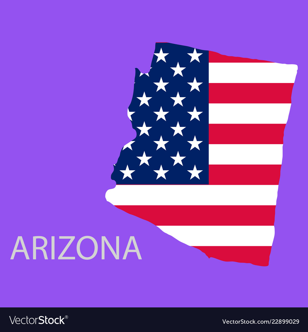 Arizona state of america with map flag print on Vector Image