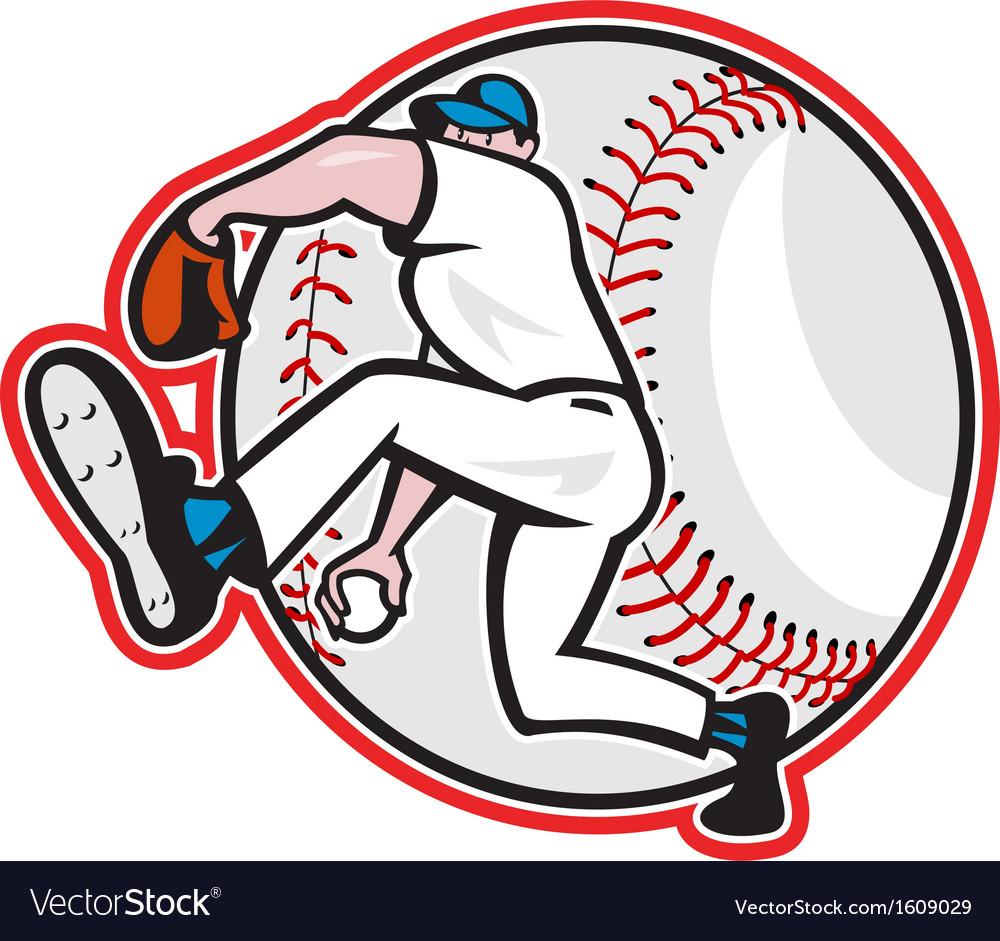 Baseball Pitcher Throw Ball Cartoon vector image