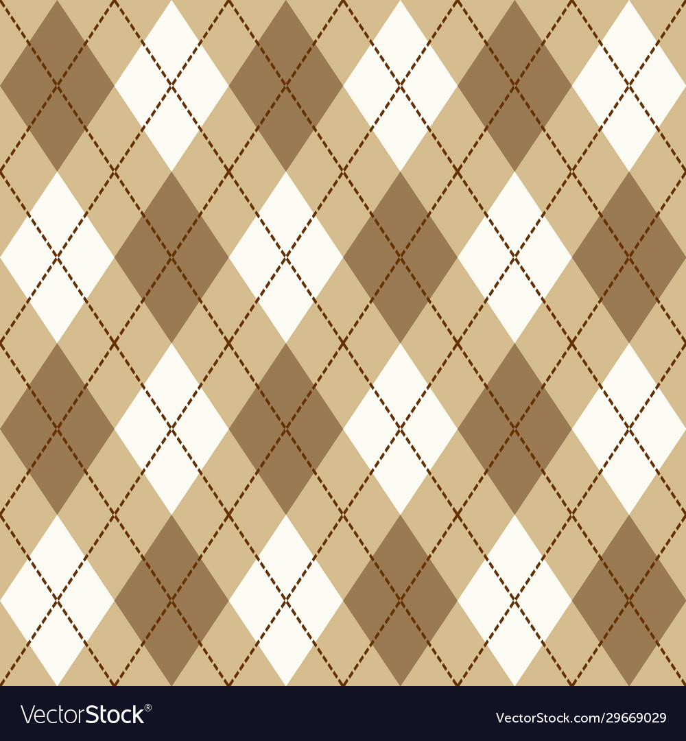 Brown beige and white seamless argyle pattern