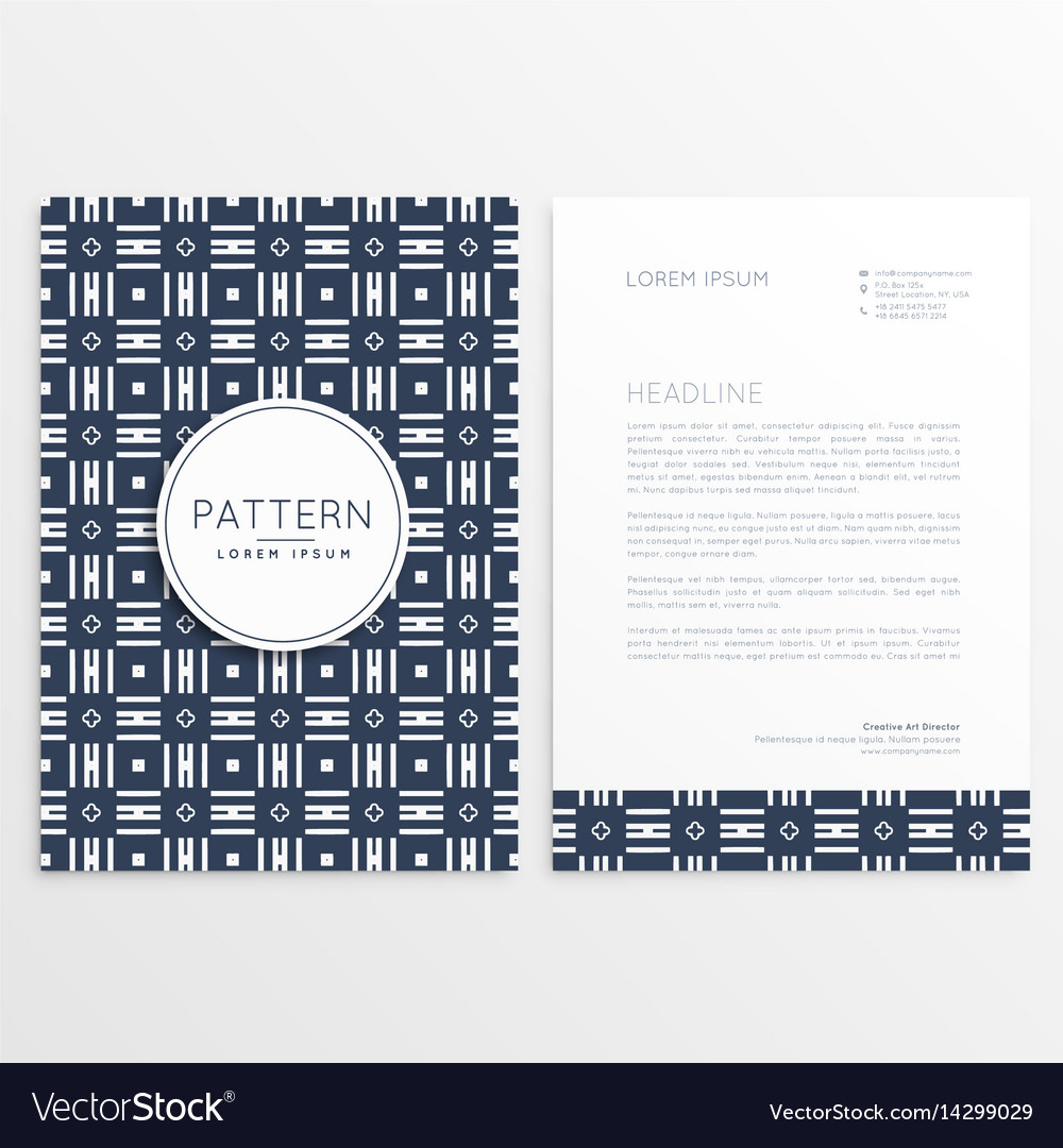 Business letterhead design with abstract pattern vector image