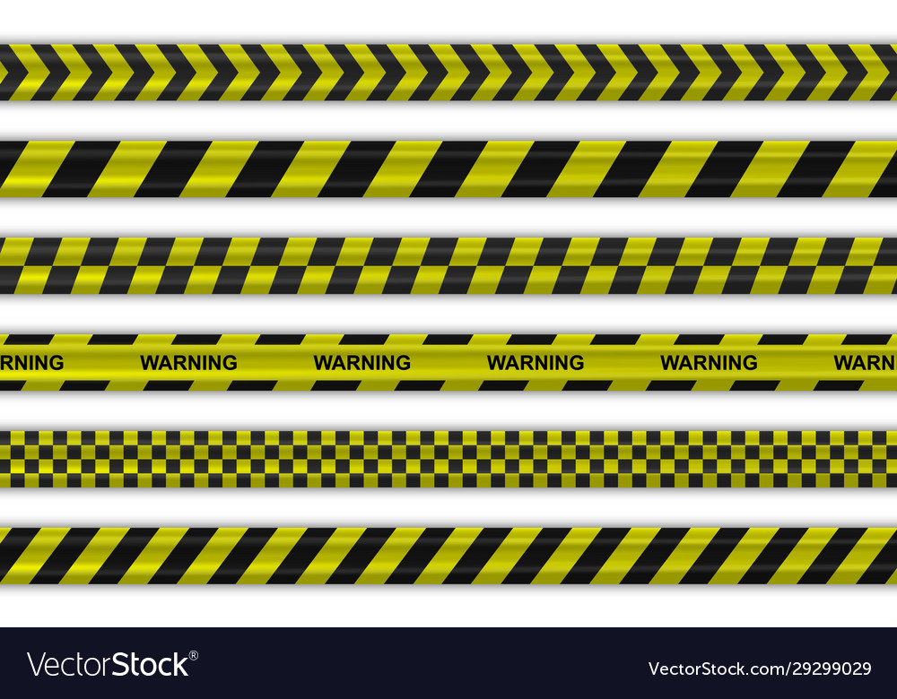 Caution police black and yellow striped borders