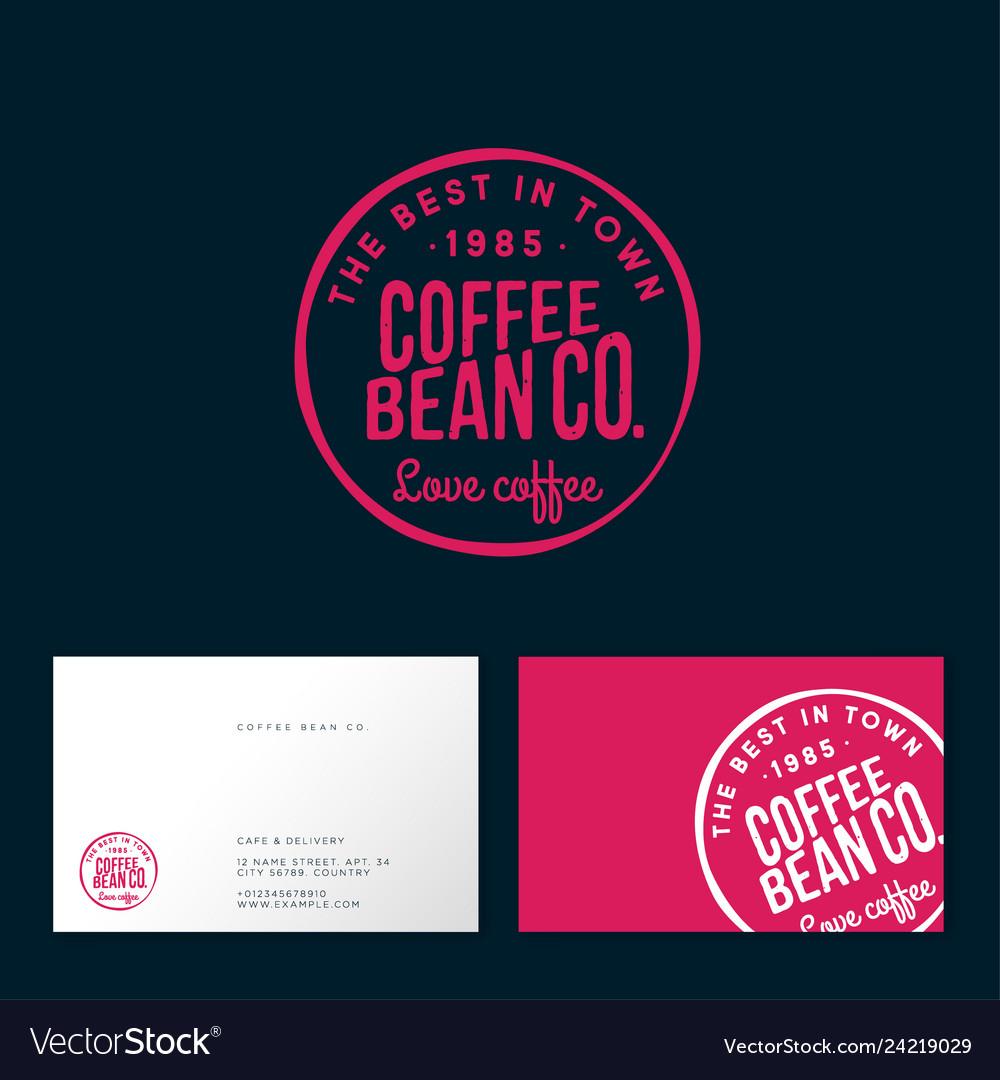 Coffee bean logo cafe emblem letters
