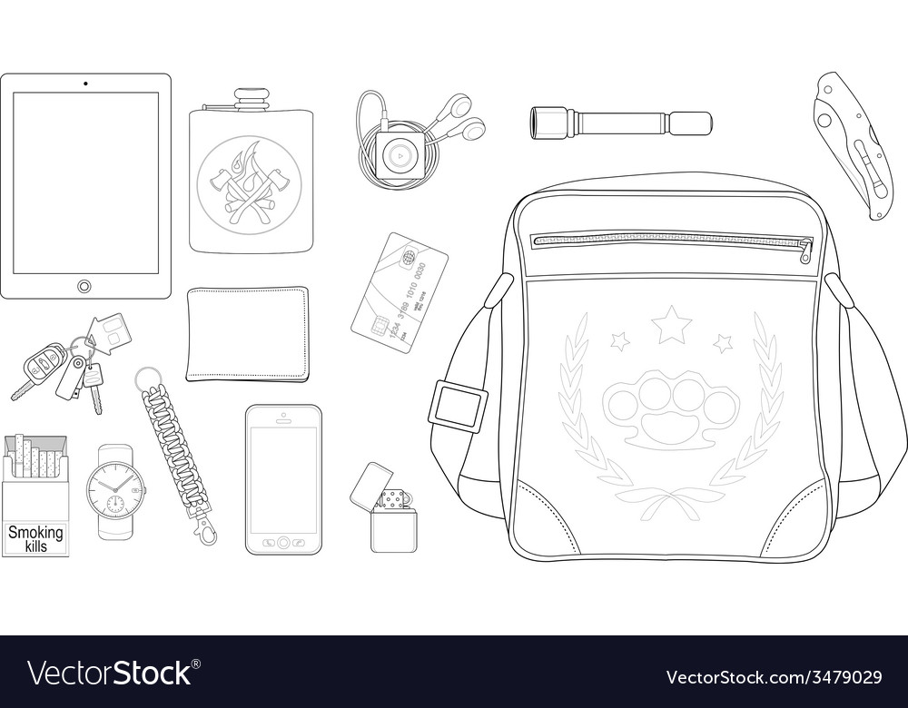 Every day carry man items set2 Line-art
