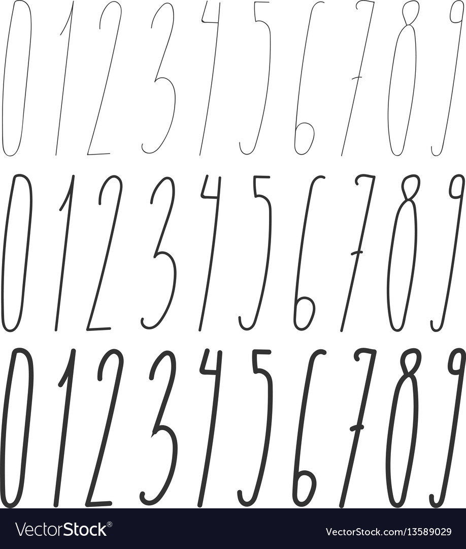 Long number font three thickness vector image