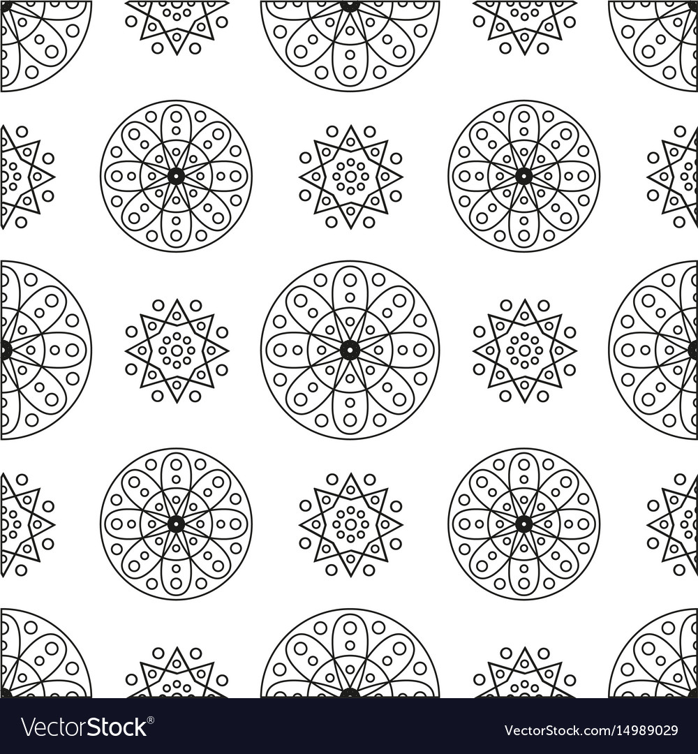 Seamless pattern with circles and spirals