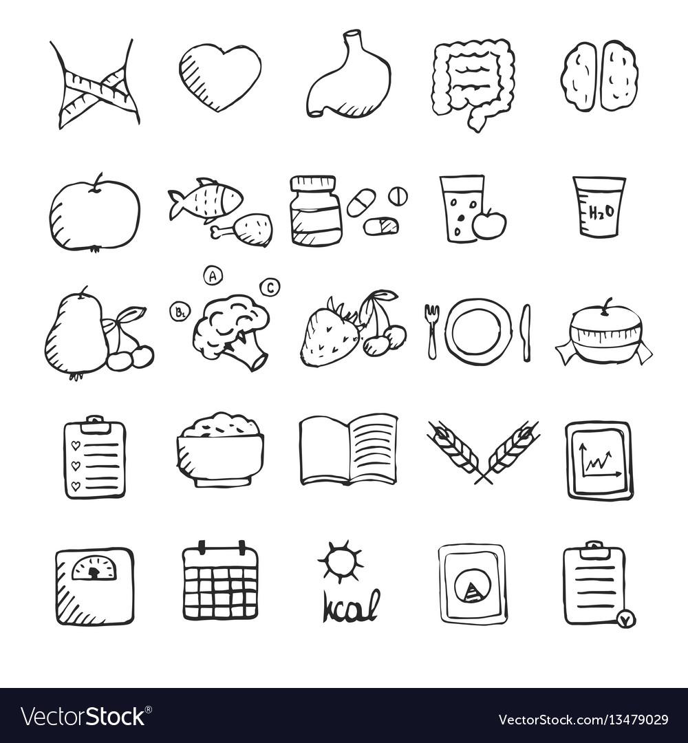 Set of hand drawn healthy lifestyle icons set set