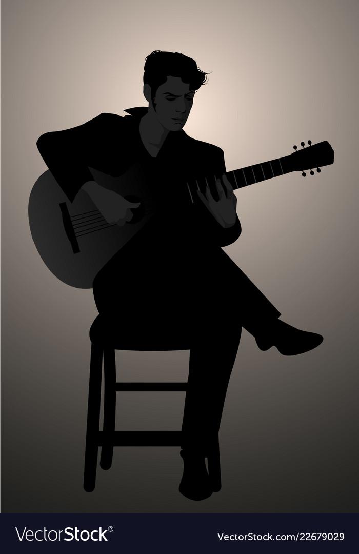 Silhouette of spanish guitarist playing flamenco