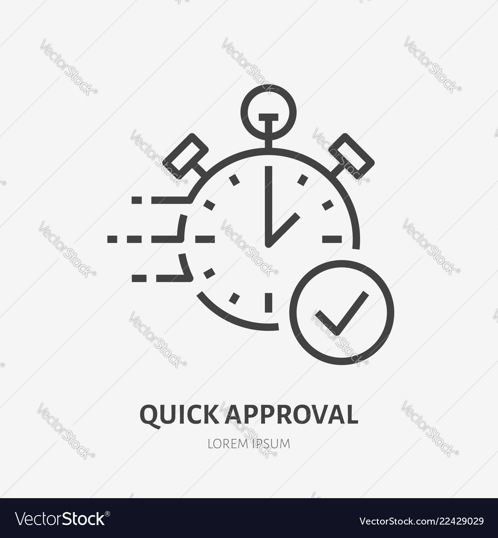 Stopwatch clock flat line icon fast money