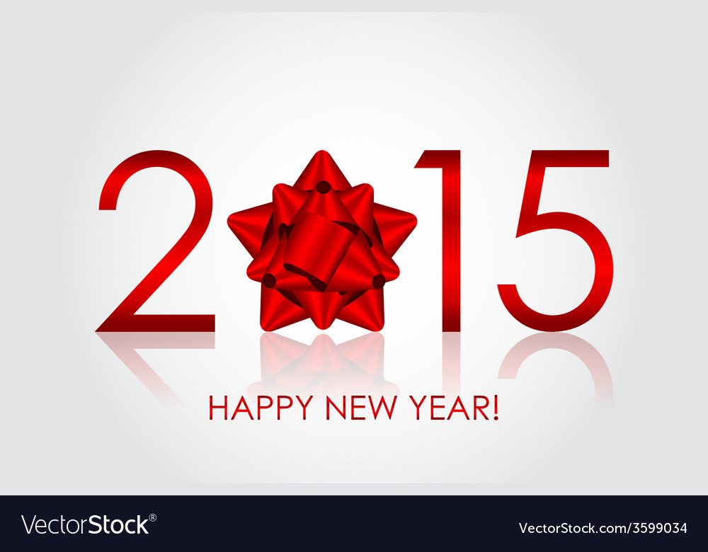 2015 Happy New Year background with red bow