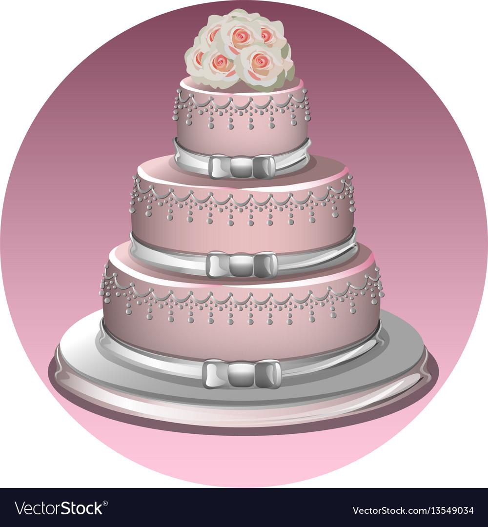 A stylish wedding cake vector image
