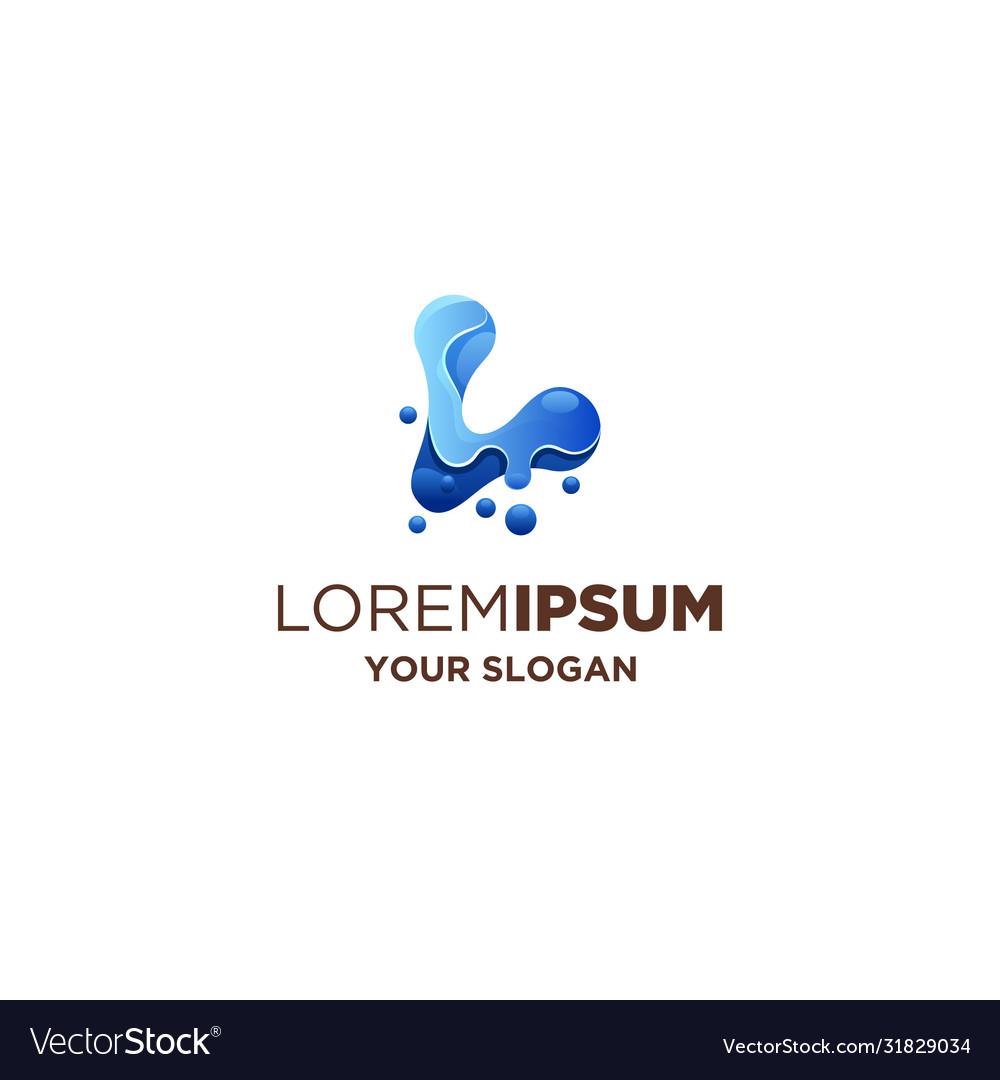 Abstract letter l liquid logo