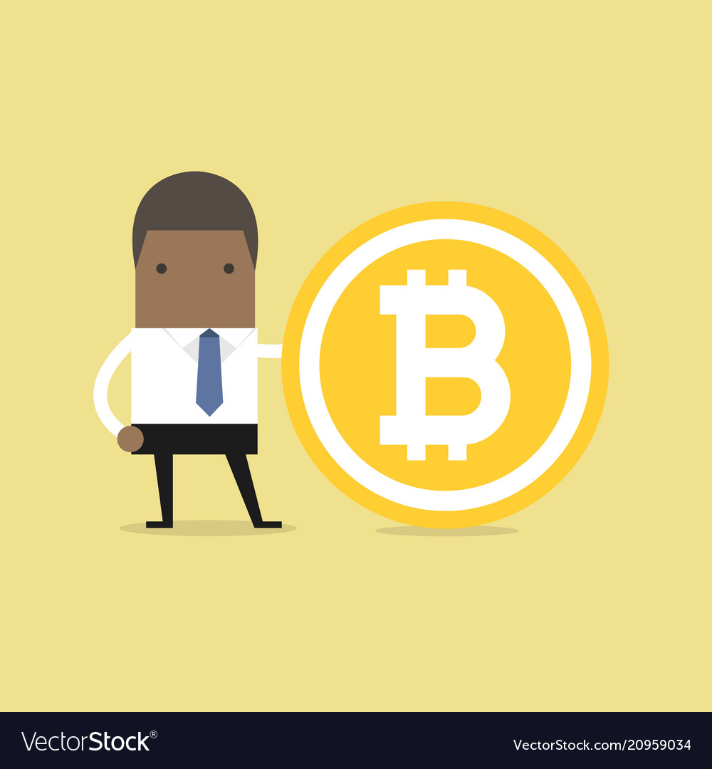 African businessman with a bitcoin