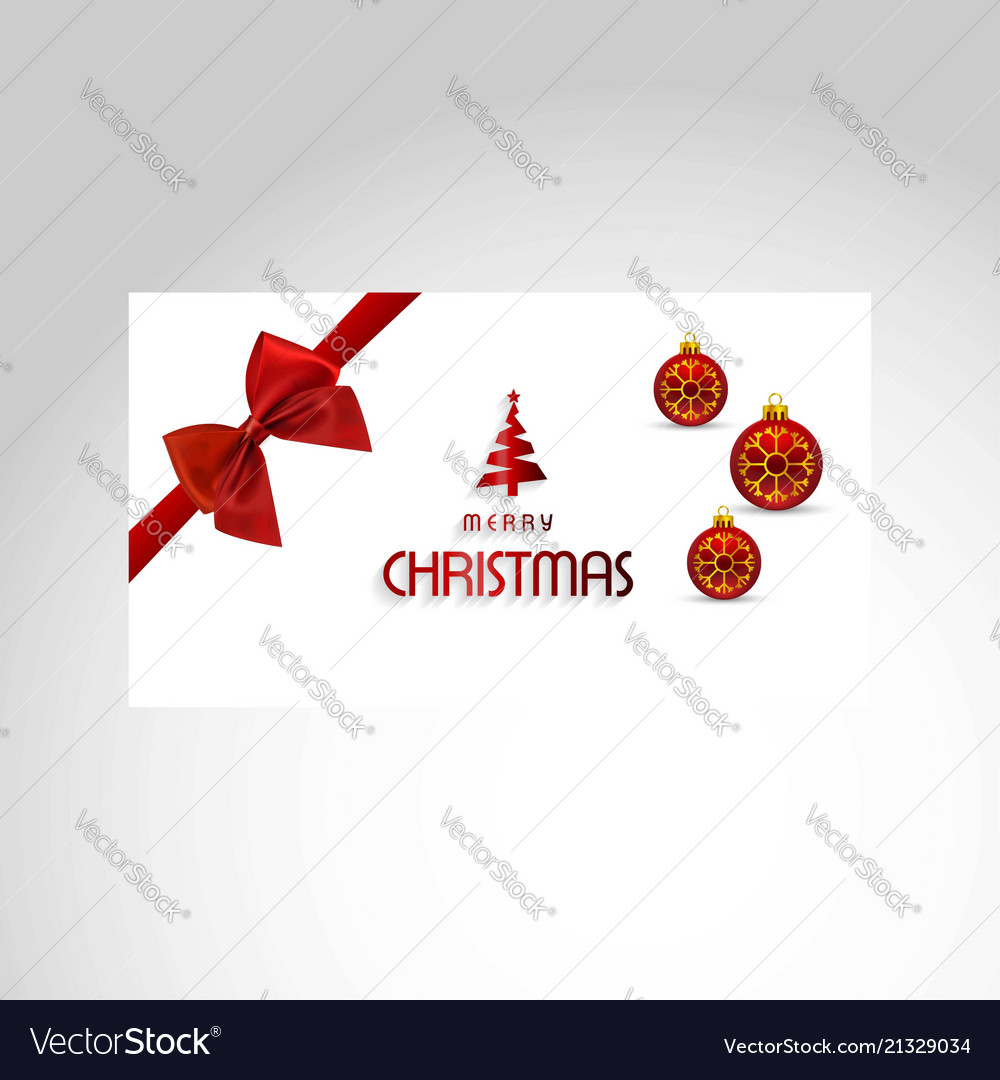 Christmas card with red bow and balls