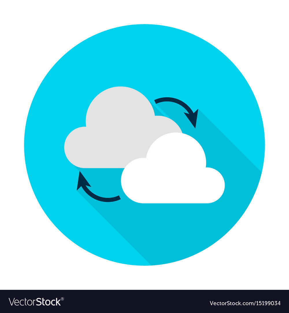 Cloud computing flat circle icon vector image