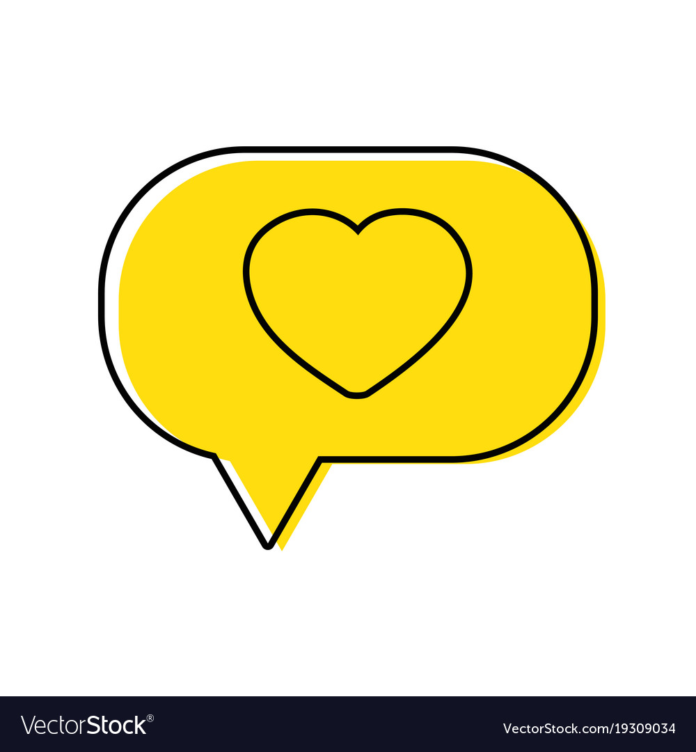 Color Heart Inside Chat Bubble Text Message Vector Image