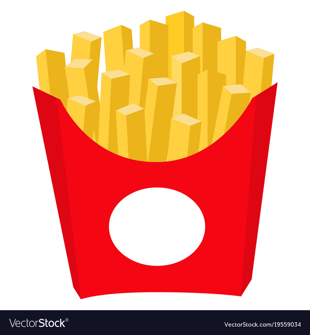 Colorful french fries potato chips fast food icon