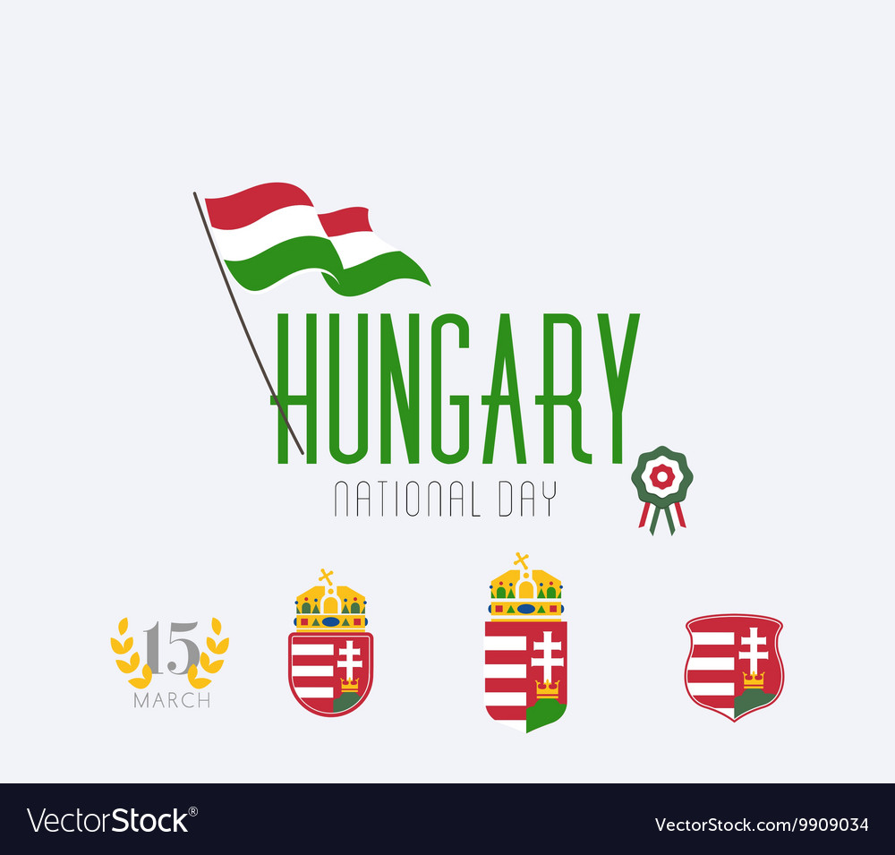 Hungary National Day Icon Set