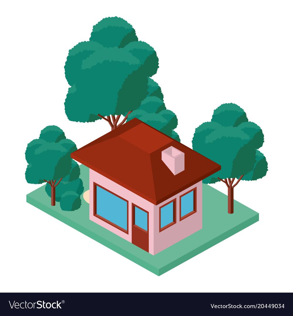 Mini tree and house isometric