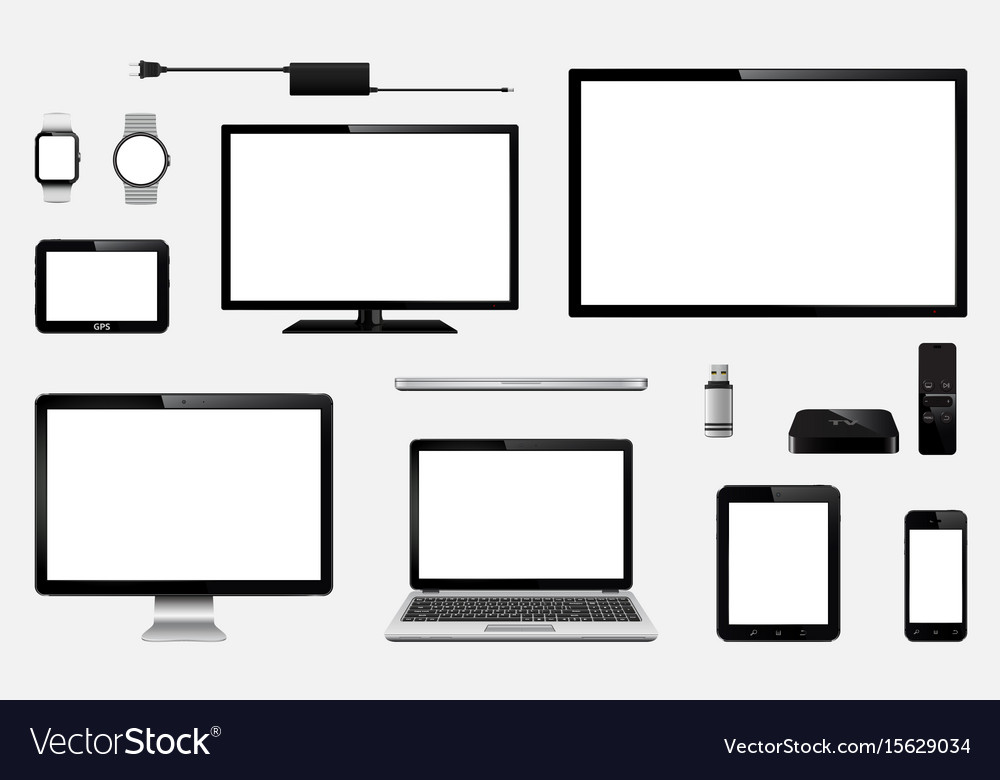 Set of realistic tv computer monitor laptops
