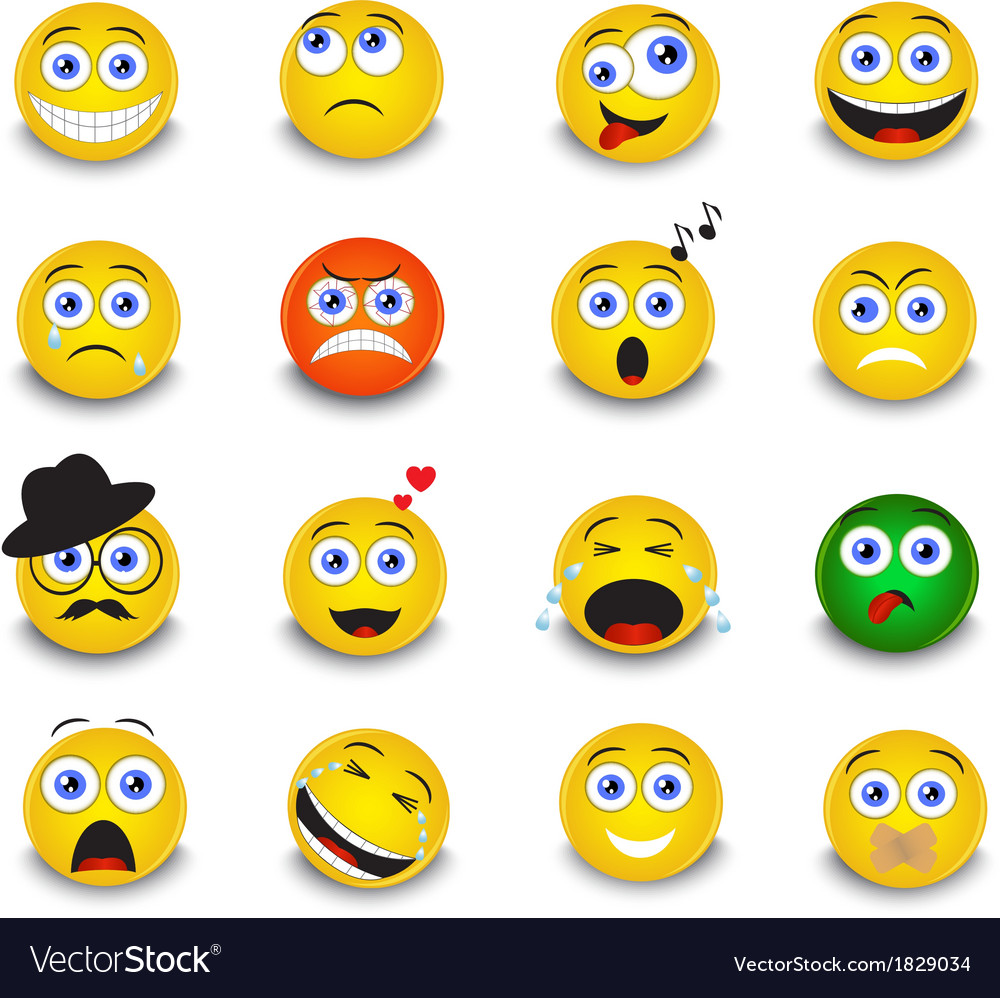 Set of yellow round emoticons