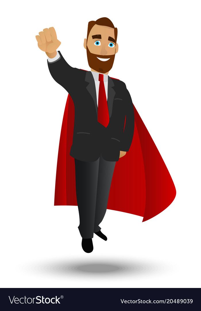 Businessman superhero flyes a character on a