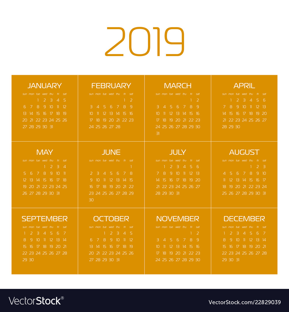 Calendar - year 2019 week starts from