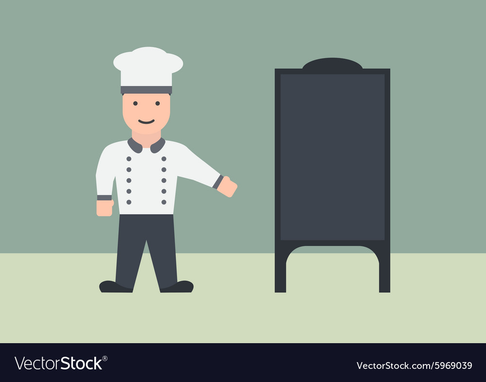 Chef with menu board flat graphic