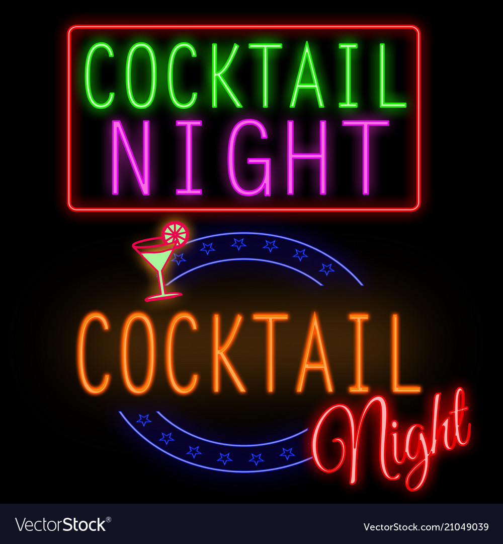 Cocktail night glowing neon sign