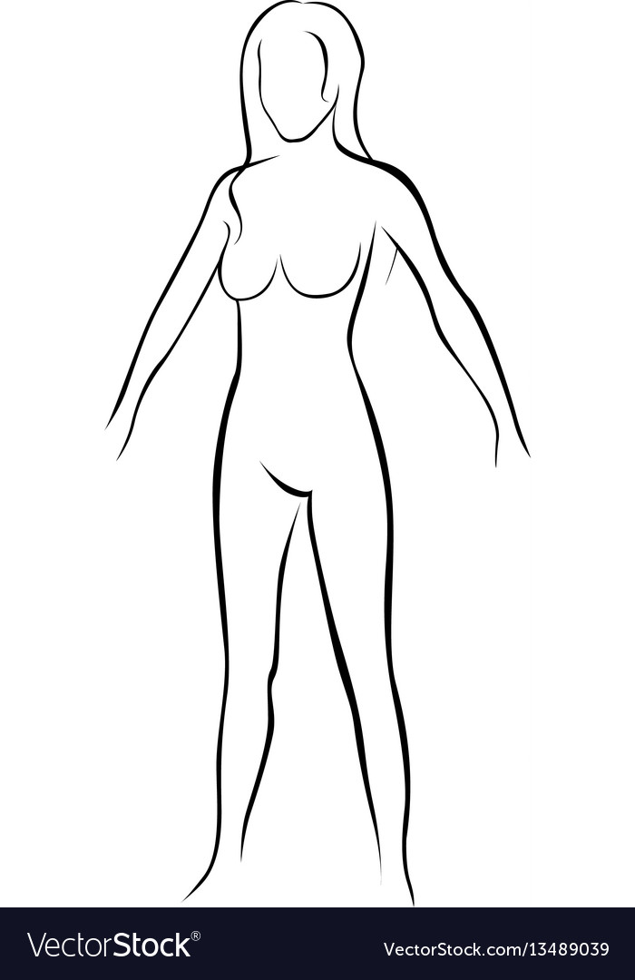 Female stylized body contour icon