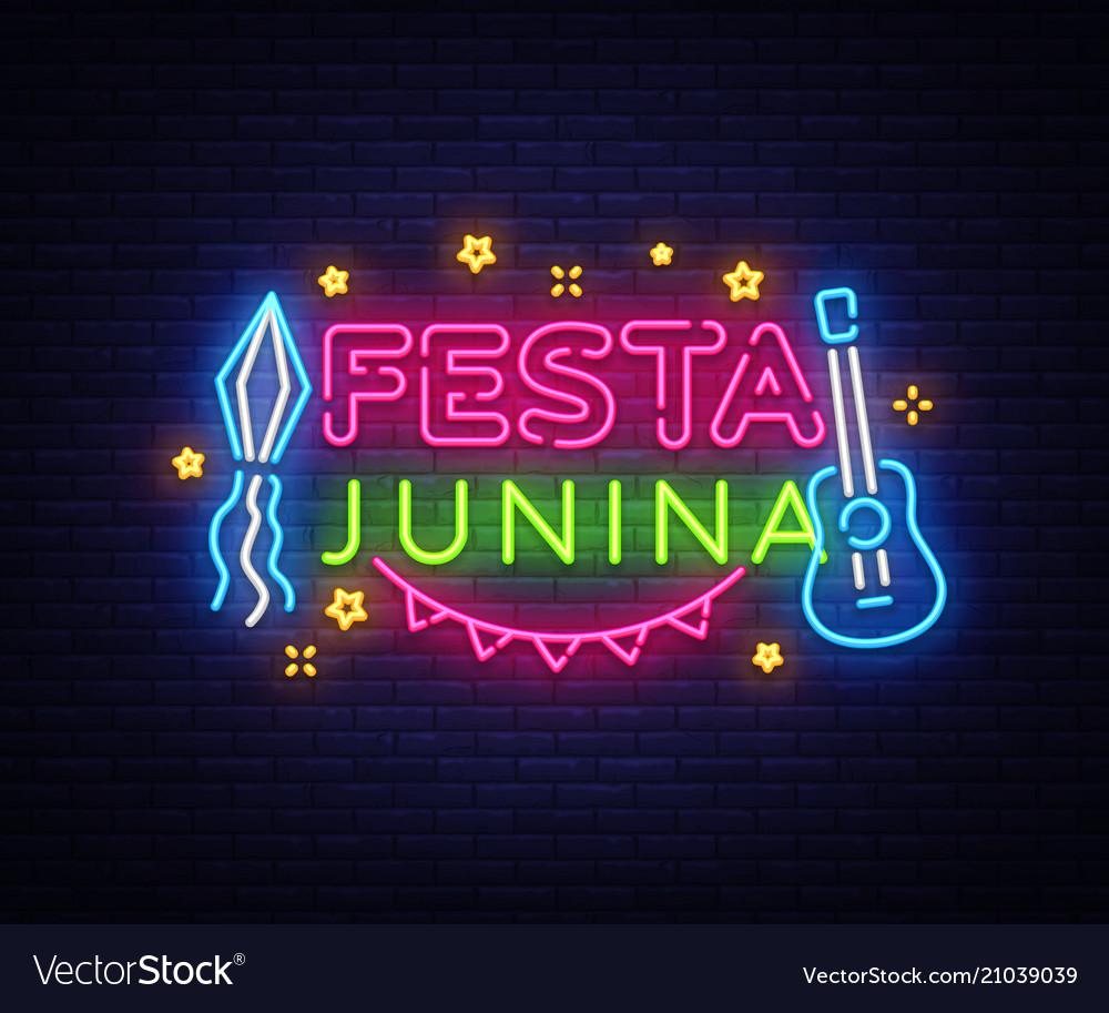 Festa junina greeting card design template neon