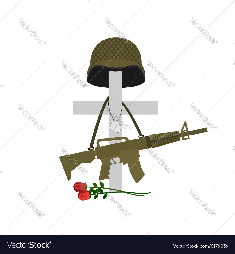Grave of a fallen soldier Death of the military vector image