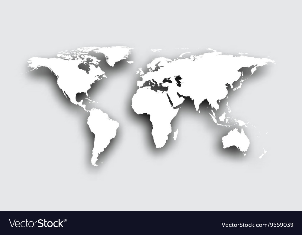 3D World Map Gray 3d world map Royalty Free Vector Image   VectorStock