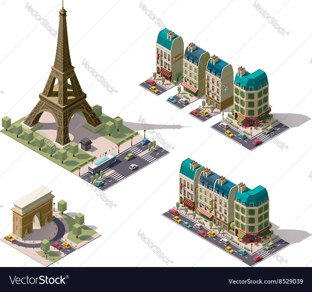 Isometric Paris architecture elements